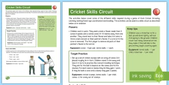 Cricket Skills Circuit Adult Guidance - PE Curriculum Aims KS2, Play competitive game, modified where appropriate, and apply basic principle