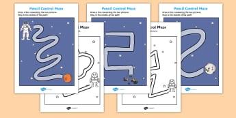 Space Themed Pencil Control Maze Activity Sheets - space, pencil control, maze, worksheets, space worksheet, pencil control worksheet, space maze, pencil
