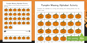 Pumpkin Missing Alphabet Activity Sheet - Alphabet, Letter Sequence, Alphabet Order, Pre-K, Halloween, Cut and Paste, Fall, Autumn, worksheet