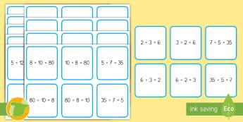 Tarjetas de emparejar: Multiplicaciones y divisiones equivalentes - multiplicar, dividir, emparejar, parejas, iguales, equivalentes, equitativas, tarjetas, mates, matem
