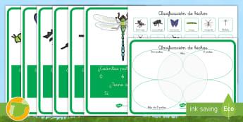 Ficha de actividad: Clasificación de bichos - libélula, abeja, caracol, hormiga, típula, escarabajo, mariposa, oruga, gusano, mariquita, cochini