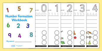 Number Formation Workbook (0-9) - Handwriting, overwriting, number formation, number writing practice, workbook, foundation, numbers, foundation stage numeracy, writing, learning to write, numeracy, numbers, number formation, 0-9