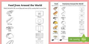 Food From Around the World Matching Activity Sheet - food, around the world, matching, activity, match, sheet, worksheet