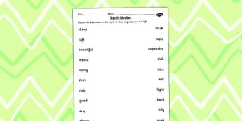 Opposite Adjective Worksheet - opposite, adjective, worksheet