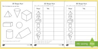 3D Shape Hunt Activity Sheets - shapes, 3D, search, math, geometry, activity sheet, worksheet