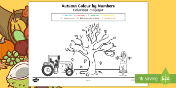 Autumn Themed Colour by Number Activity Sheet English/French - seasons, weather, colouring,autumn, weather, colouring, colour by numbers, EAL French,Worksheet