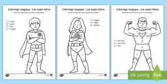 Coloriage magique : Les super-héros  - coloriage magique, super-héros, coleurs, couleurs, nombres, reconnaissance des couleurs et des nomb