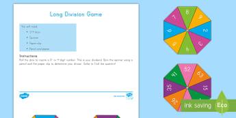 Long Division Game - long Division, problem solving, quotient, dividend, divisor