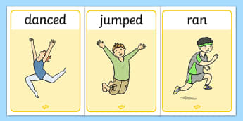 Verb Action Posters Past Tense - verbs, grammar, tenses, display