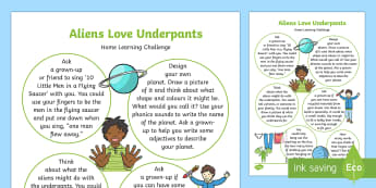 Home Learning Challenge Sheet Reception FS2 - EYFS, Aliens Love Underpants, Claire Freedman, Ben Cort, home learning, homework, space, planets, ac
