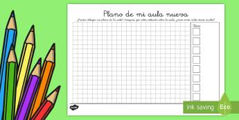 Ficha de actividad: Plano - Mi aula nueva - plano, aula nueva, clase nueva, curso nuevo, vualta al cole, ,Spanish