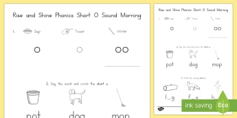 Rise and Shine Phonics Short O Sound Morning Activity Sheets - short vowels, short o, morning work, phonics, worksheets, usa, kindergarten