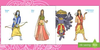Diwali Story Puppets English/Mandarin Chinese - diwali, story, puppets, stick puppets, character, EAL