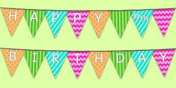 Happy 9th Birthday Bunting - 9th birthday party, 9th birthday, birthday party, bunting