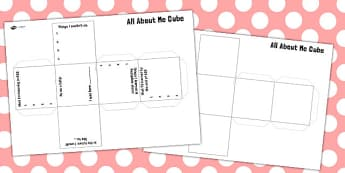 All About Me Cube Net Template - all, about, me, cube, activity, all about me