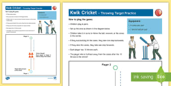 Kwik Cricket Throwing Target Practice Adult Guidance - PE Curriculum Aims KS2, Play competitive game, modified where appropriate, and apply basic principle