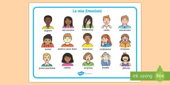 Le mie Emozioni Vocabolario Illustrato - le, mie, emozioni, sentimenti, vocabolario, illustrato, italiano, italian, materiale, scolastico