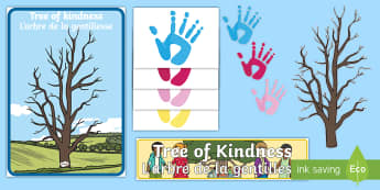 Tree of Kindness Display Pack English/French  - Autumn, seasons, september, october, topics, ks1, harvest, kindness, kind, helpful, positive, behavi