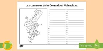 Ficha de actividad: Las comarcas de la Comunidad Valenciana - Mapas, provinicias, mapas mudos, mapas en blanco, las ciudades de españa, comarcas, concejos, comun