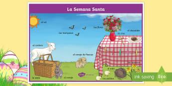 Easter Scene Word Mat - Spring, KS2, Spanish, MFL, Easter, scene, word, mat