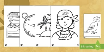 Extra Large Pirate Coloring Activity  - pirates, coloring, activity, art, discussion prompt, creativity