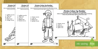 Pirates Colour by Number English/Spanish - Pirates Colour by Number - pirates, colour, number, activity, coloyur by number, pirtaes, prirate, E