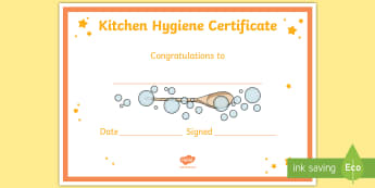 Kitchen Hygiene Certificate - cleanliness, germs, washing hands, mould, soap, detergent