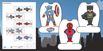 Superhero Themed Pencil Topper - paper, pencil, tops, puppet