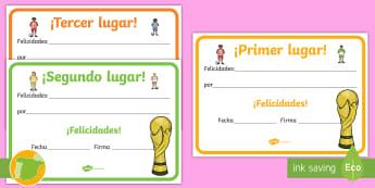 Diplomas: Campeonato de fútbol - fútbol, primer, segundo, tercer, lugar, premio, campeón, campeonato, educación física, deporte,