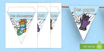 Guirlande de fanions : Les vêtements d'hiver - Hiver, winter, colthing, clothes, vêtements, fanions, guirlande, bunting, display, French