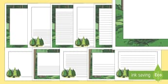 Frises : La forêt - forest, woods, trees, A4, page border, border, writing template, writing aid, writing, woodland, fox, bark, deere