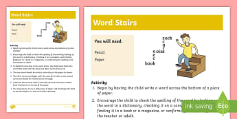 Word Stairs Activity - words, learn, match, literacy, crossword, letters, english,