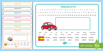 Welcome to P2 (with Spanish) Desk Mat - Start Of Year, Name Label, Desk Names, Editable, Start Of P2, Spanish,Scottish