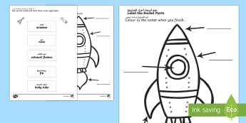 Space Rocket Labelling Sheet Arabic Translation-Arabic-english - Space Rocket Labelling Sheet - space, rocket, labels, sheet, spce, lebels, labeles, soace, spcae,Ara