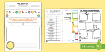 KS1 First Day Back Activity Pack English/German  - EAL, German, holidays, summer, back to school, new class, new year, return, holiday, break, first da
