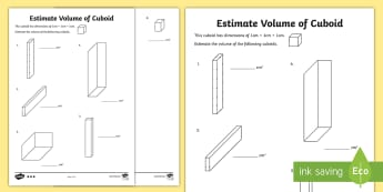 Year 6 Estimate Volume of Cuboids  Differentiated Activity Sheets - box, swimming pool, cube, cuboid, volume