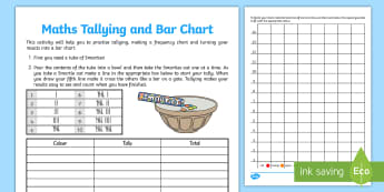 Smartie Maths Tallying and Bar Chart Activity Sheet - activity, worksheet