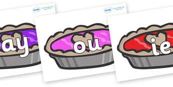 Phase 5 Phonemes on Jam Tarts - Phonemes, phoneme, Phase 5, Phase five, Foundation, Literacy, Letters and Sounds, DfES, display
