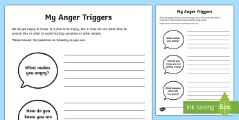 My Anger Triggers Activity Sheet - PSHCE, behaviour, reflection, transition, friendships