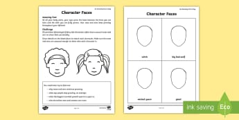 Fairy Tale Character Faces Activity Sheet - Amazing Fact Of The Day, activity sheets, powerpoint, starter, morning activity, February, story cha