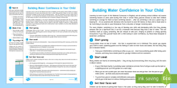Helping Your Child to Be Water Confident Parent and Carer Information Sheet  - child, wellbeing, swimming, fears, water parents, carers