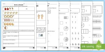 Fracții - Broșură cu exerciții pentru acasă - fracții, rație, număr rațional, fracție, exerciții, fișe,matematică, română, materiale,Rom
