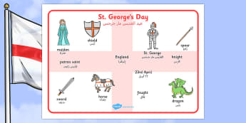 St George's Day Word Mat Arabic Translation - arabic, St George's Day, word mat, writing aid, maiden, St George, patron saint, dragon, sword, England, fought, horse, English