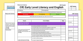 CfE Early Level Literacy and English CfE Early Level Tracker - CfE, planning, tracking, literacy, I can, Early