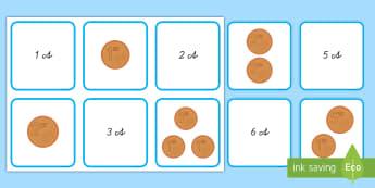 1 bis 10 Cent Memorykarten  - Euro, Geld, Cent, €, ct, c, Addition, Münzen, Scheine,,Spanish