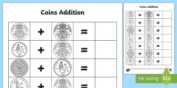 Coins Addition Activity Sheet - currency, lifeskills, money, community, mathematics, worksheet