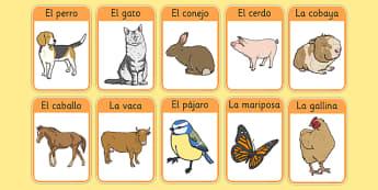 Los animales de la granja Farm Animals in Spanish Flashcards - spanish, Farm, animals, granja, animales, flashcards