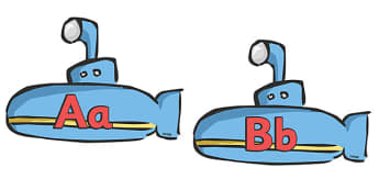 A-Z Alphabet on Submarines - Submarine, Under the sea, Alphabet frieze, Display letters, Letter posters, A-Z letters, Alphabet flashcards, sea, seaside, display, posters, water, tide, fish, sea creatures, shark, whale, marine, dolphin, starfish, wave