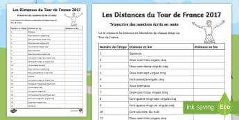 Feuille d'activités : Les distances du Tour de France - Transcrire des nombres écris en mots - KS2, cycle 2, cycle 3, français, lecture, orthographe, nombres, numbers, reading,French