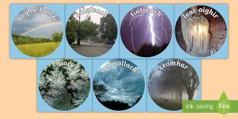 Aimsir Display Photo Cut-Outs - Gaeilge - Aimsir, weather, Irish, display,Irish